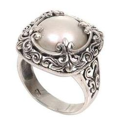 White Lunar Cultured Mabe Pearl Cocktail Ring