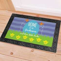 Personalized Home of the Spring Chicks Doormat