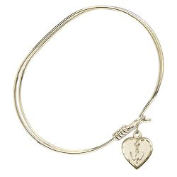 Oval Gold-Plated Bangle Bracelet with Heart Charm