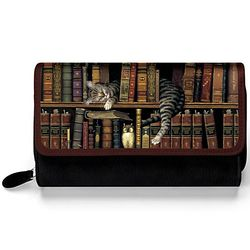 Classic Tails Cat Art Women's Black Faux Leather TriFold Wallet