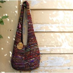 Recycled Woven Silk Shoulder Bag