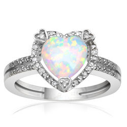 Sterling Silver Opal Birthstone and Diamond Heart Ring