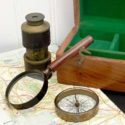 Classic Details Magnifying Glass, Compass, and Telescope