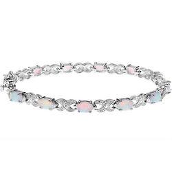Opal Gemstone and Sterling Silver Bracelet