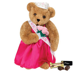 "15"" World's Best Mom Teddy Bear With Roses And Fudge"