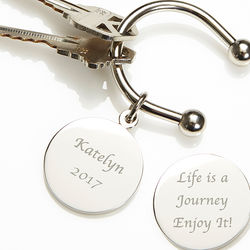 Life is a Journey Engraved Silver Key Ring