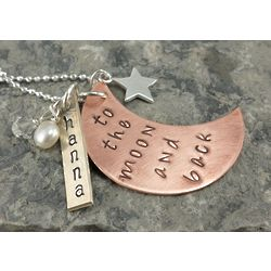 To The Moon and Back Personalized Charm Necklace