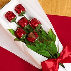 Half Dozen Decadent Chocolate Roses in Classic Rose Box