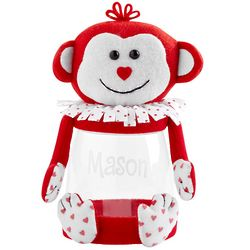 Personalized Valentine Plush Monkey Treat Jar