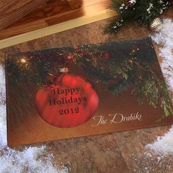 Red Ornament Personalized Doormat