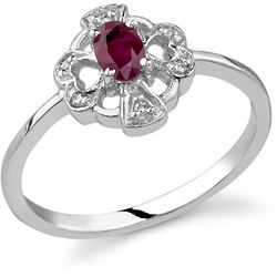 Cross and Heart Ruby and Diamond Ring in 14 Karat White Gold
