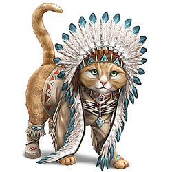Chief Runs with Paws Cat Figurine with Tribal Style Outfit