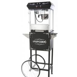 Black Popcorn Machine with Cart