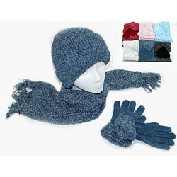 Ladies Chenille Hat, Glove and Scarf Set