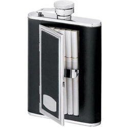 Smooth Black Leather Cigarette Flask