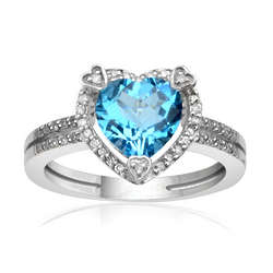 Sterling Silver Blue Topaz Birthstone and Diamond Heart Ring