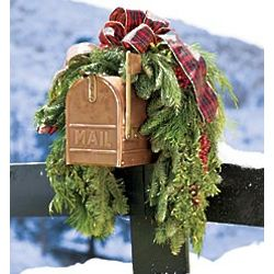 Holiday Woodland Evergreens Mailbox Swag