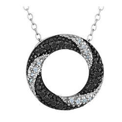 White and Black Diamond Circle Pendant