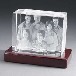 Large Landscape Photo Crystal with Rosewood Base