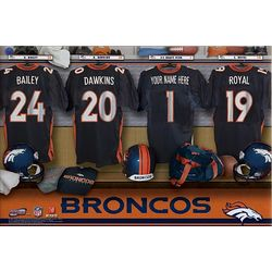 Denver Broncos Personalized 16x24 Locker Room Canvas