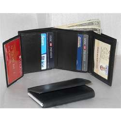 Leather Trifold Wallet with Two Transparent ID Holders