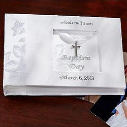 Personalized Baptism Photo Book with Cross