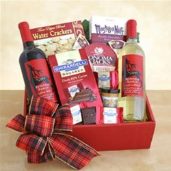 Dueling Reindeer Wine and Snacks Gift Basket