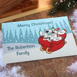 Polar Bear Family Personalized Holiday Doormat
