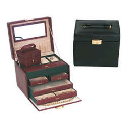 Leather Jewelry Box with 4 Drawers