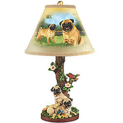 Pug Dog Table Lamp with Sculpted Base