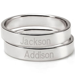 Engravable Two Silver Stacking Mother's Rings