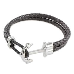 Men's Anchor Leather Wristband Bracelet