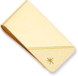 Gold Plated Star Cut Diamond Inlaid Money Clip