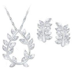 Glittering Goddess Women's Diamonesk Necklace and Earrings