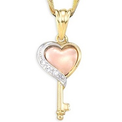 14k Tri Color Gold Heart and Key Pendant