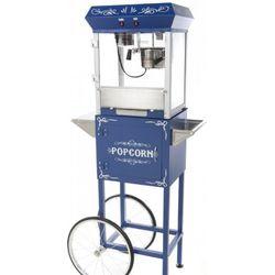 Blue Popcorn Machine with Cart