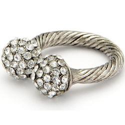 Shamballa Silvertone Crystal Ring