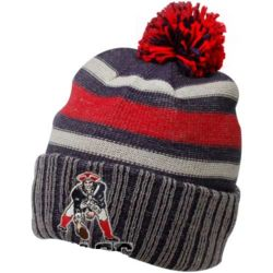 New England Patriots Navy Blue and Red Striped Pom Beanie - FindGift.com 757c027c3