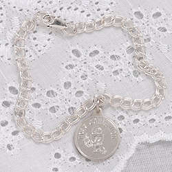 Personalized First Communion Sterling Silver Charm Bracelet