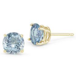 Aquamarine Stud Earrings in 14K Yellow Gold
