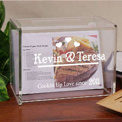 Engraved Cookin' Up Love Acrylic Recipe Box