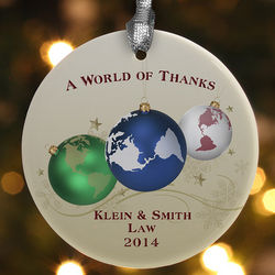 World of Thanks Personalized Ornament