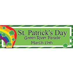 Shamrocks and Rainbows 24x72 Personalized Vinyl Banner