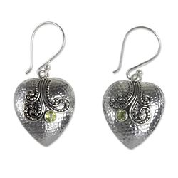 Love's Story Peridot and Sterling Silver Heart Earrings
