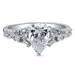 Platinum Plated Sterling Silver Pear Cut CZ Solitaire Ring