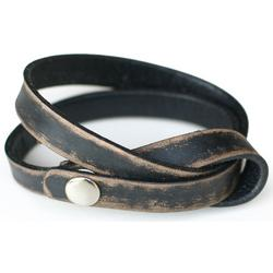'Daring in Black' Distressed Leather Wrap Bracelet
