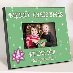Personalized Green Holiday Picture Frame