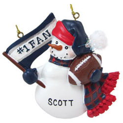 New England Patriots Football Fan Personalized Christmas Ornament