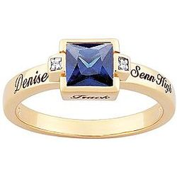 18K Gold Overlay Square-Cut Birthstone Class Ring