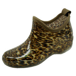 Ladies Shortie Rainboots in Leopard Print